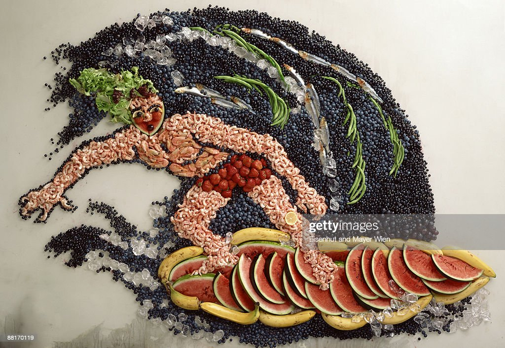 Surfer made of food : Stock Photo