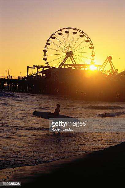 Surfer Near Santa Monica Pier