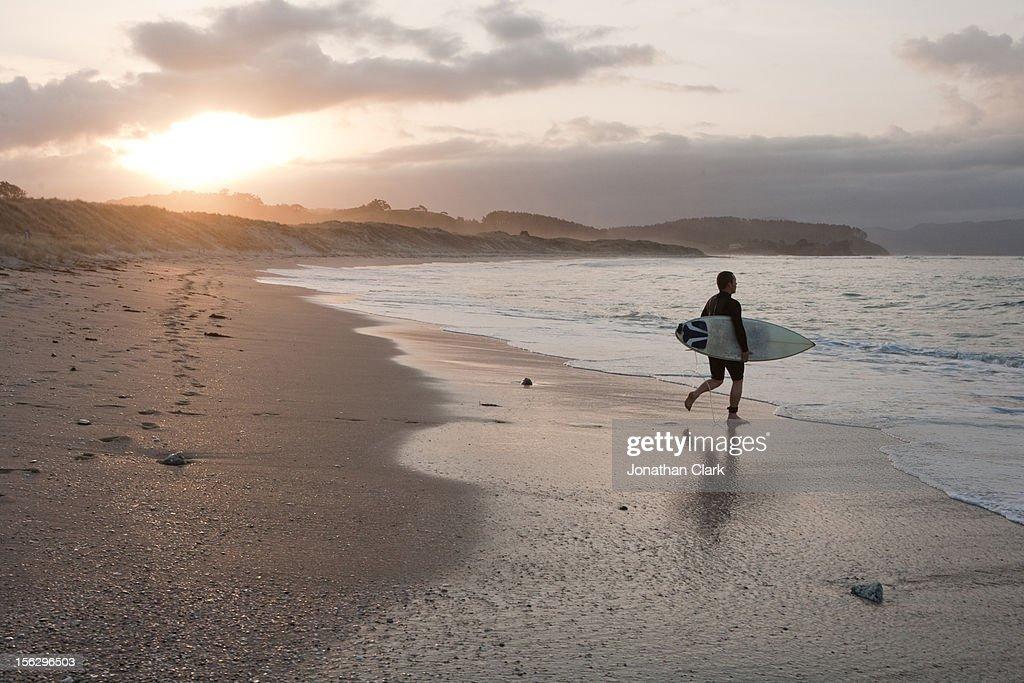 Surfer on beach : Stock Photo