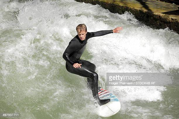 Surfer on Eisbach, Munich, Bavaria, Germany