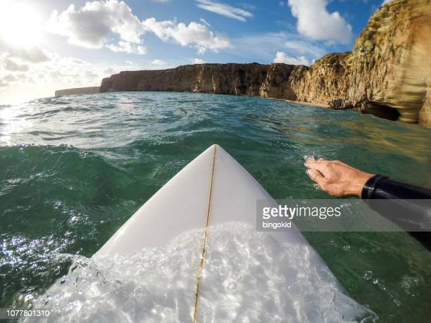 surfer paddling point of view - paddling stock pictures, royalty-free photos & images