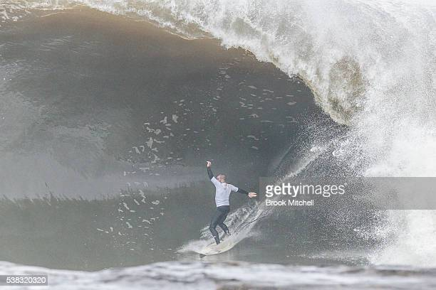 Surfer Richie Vaculik hangs on for his life at Cape Fear on June 6 2016 in Sydney Australia
