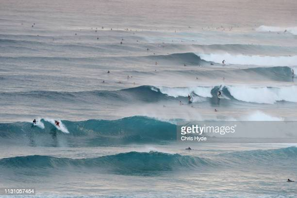Surfer ride waves Snapper Rocks on February 21 2019 in Gold Coast Australia Cyclone Oma is currently to the west of New Caledonia but expected to...