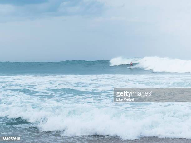 surfer riding a right hand wave at Arugam Bay's main point