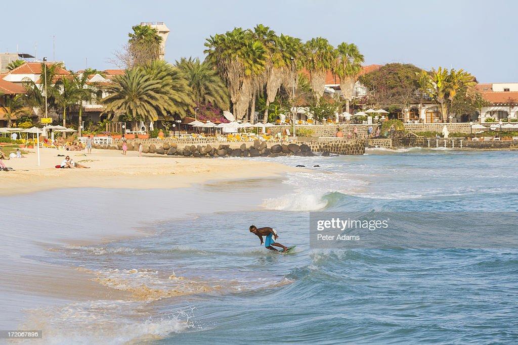 Surfer, Santa Maria, Sal Island, Cape Verde : Stock Photo