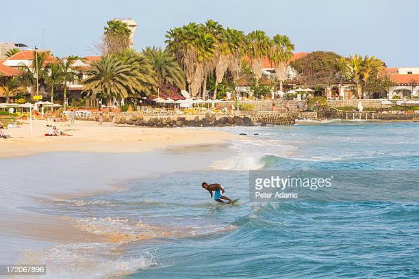 surfer, santa maria, sal island, cape verde - cape verde stock pictures, royalty-free photos & images