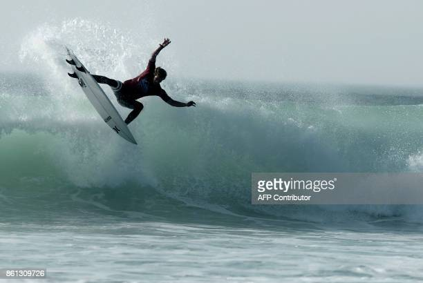 US surfer Sebastian Zietz competes in the final of the French stage of the World Surfing Championship 2017 Quiksilver Pro France in Hossegor on...