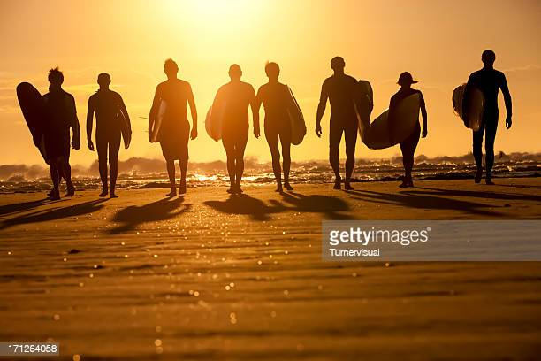 surfer silhouette - malibu stock pictures, royalty-free photos & images