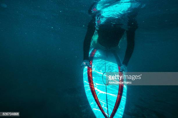 Surfer under the water