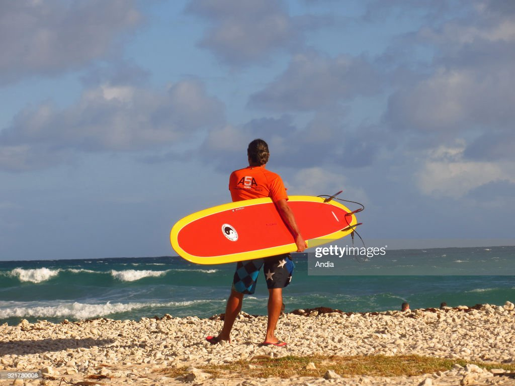 Surfer viewed from behind facing the sea on the beach 'plage du Helleux', Grande-Terre Island, Guadeloupe.