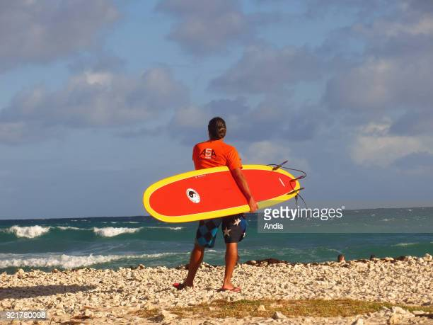 Surfer viewed from behind facing the sea on the beach 'plage du Helleux' GrandeTerre Island Guadeloupe