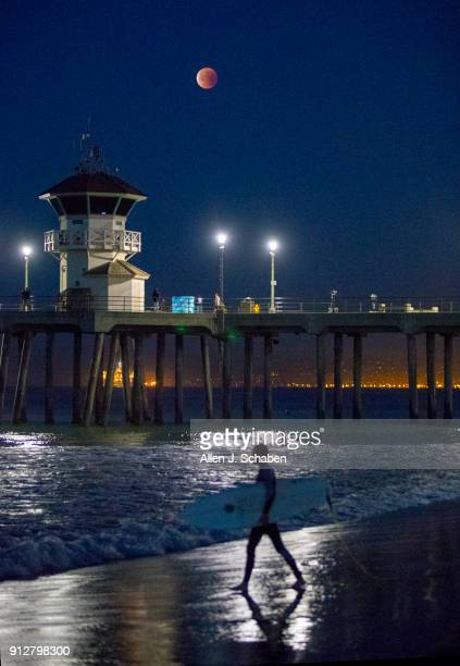 A surfer wades into the water with a view of the super blue blood moon eclipse over Tower Zero at 6 am in Huntington Beach Calif on Jan 31 2018