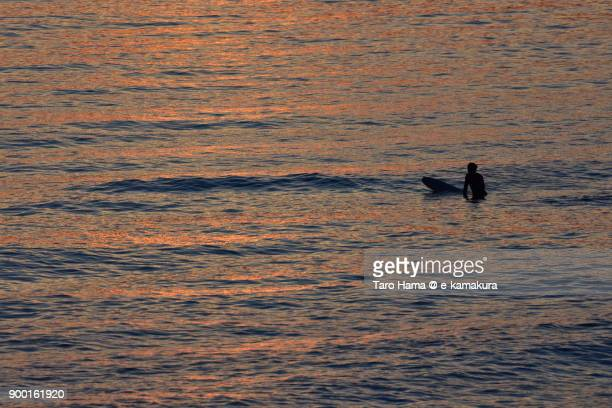 a surfer waiting for next wave in the sunset beach in kamakura city in kanagawa prefecture in japan - image title stock pictures, royalty-free photos & images