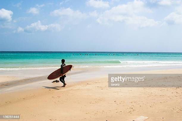 Surfer walking on beach in spring, Shimoda, Japan