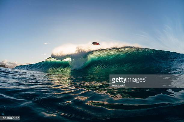 surfer wipeout at banzai pipeline, hawaii, usa - banzai pipeline stock photos and pictures