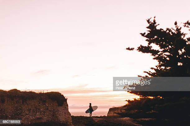 Surfer with surfboard looking out to sea, Santa Cruz, California, USA