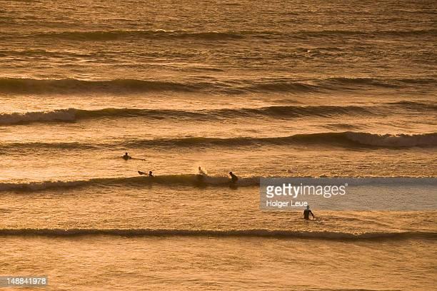 Surfers amongst the waves, Rossnowlagh beach, near Ballyshannon.