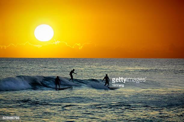 Surfers at Sunset in Poipu Beach of Kauai Hawaii