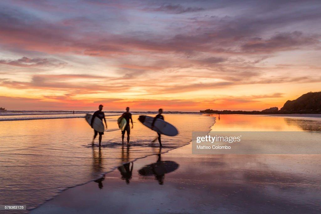 Surfers at sunset walking on beach, Costa Rica : Stock Photo