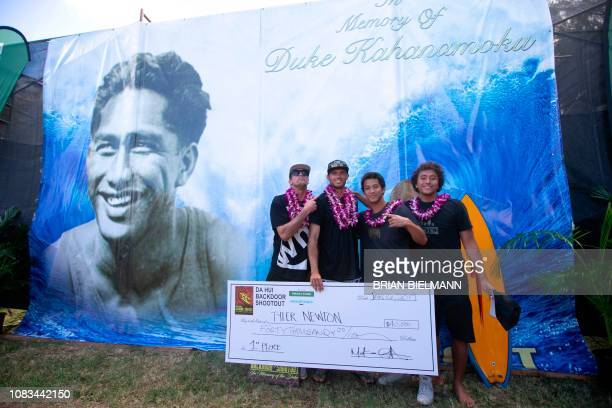 Surfers Bruce Irons Tyler Newton Seth Moniz and Josh Moniz from team Weed Maps won first place in Da Hui Backdoor shootout final day at the Pipeline...