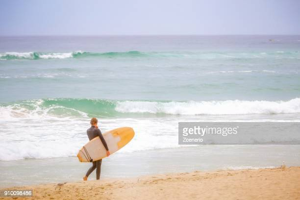 surfers carried surfboard on the beach sunny day of turquoise sea white sand bright sun and blue sky at surfer paradise in gold coast, australia - white gold stock pictures, royalty-free photos & images