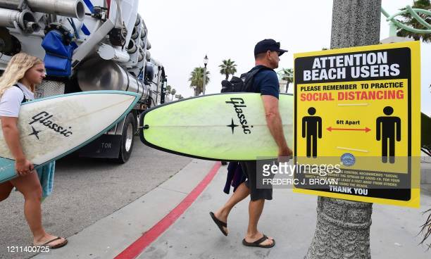 Surfers carry their boards past a sign reminding the public of social distancing guidelines at at Huntington Beach California on April 30 2020...