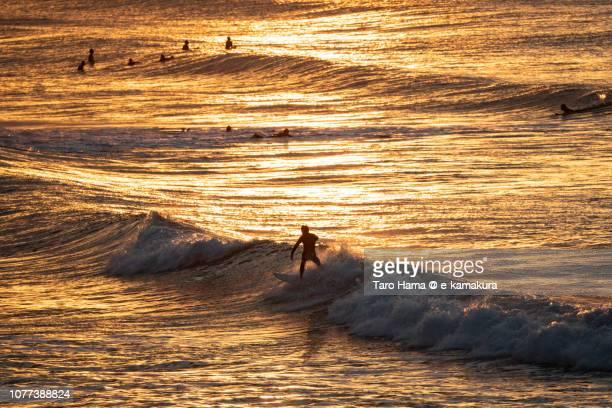 Surfers enjoying the surf on the morning beach in Kamakura city in Kanagawa prefecture in Japan