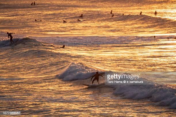 Surfers enjoying the surf on the morning beach in Kamakura in Japan