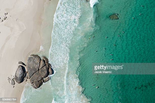 Surfers from above on the coast of Western Australia