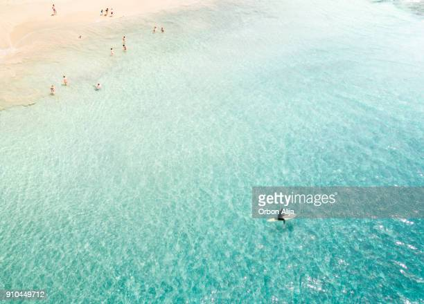 surfers from above - lanzarote stock pictures, royalty-free photos & images