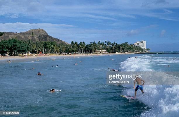 Surfers in Hawaii, United States - Oabu island, Waikiki.