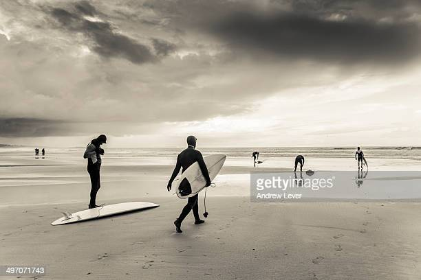 Surfers on a beach