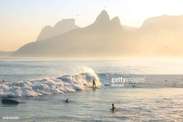 Surfers on Ipanema Beach Brazil