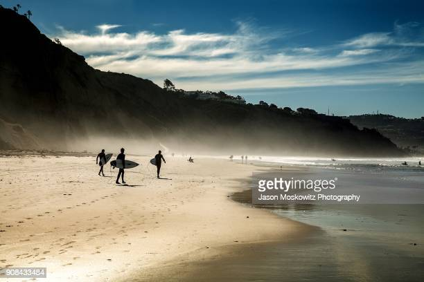 surfers on la jolla beach california - california stockfoto's en -beelden