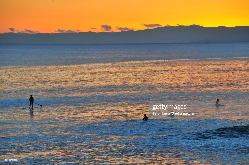 Surfers on sunset beach in Kamakura city in Kanagawa prefecture in Japan : ストックフォト