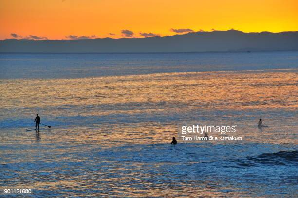 Surfers on sunset beach in Kamakura city in Kanagawa prefecture in Japan