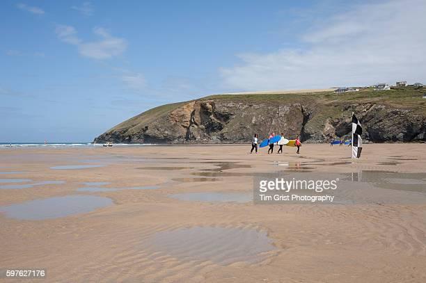 Surfers on the beach, Mawgan Porth, Cornwall