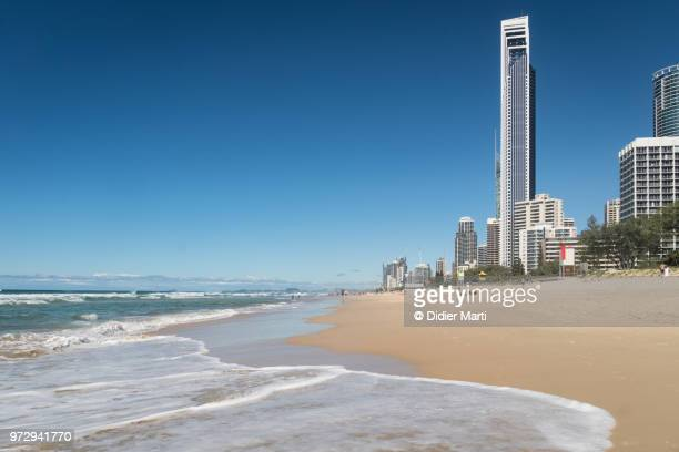 surfers paradise beach on a sunny summer day with the skyline on the gold coast in queensland, australia. - クイーンズランド州ゴールドコースト ストックフォトと画像