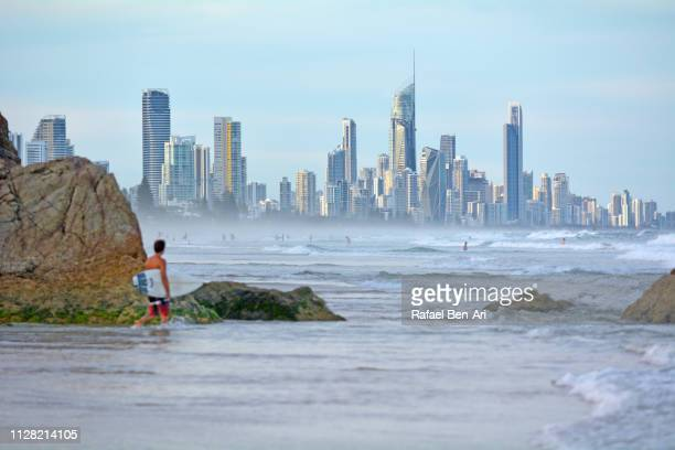 surfers paradise city skyline, australia - rafael ben ari bildbanksfoton och bilder