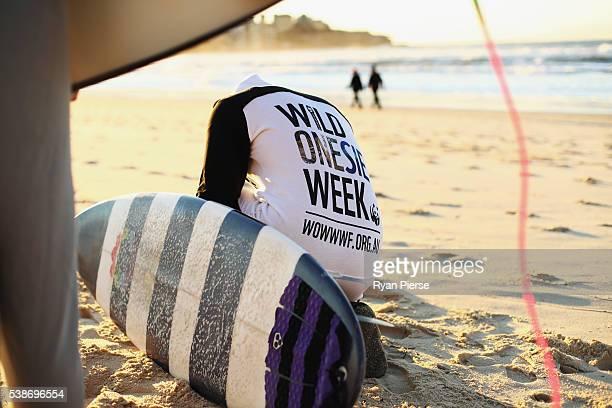 Surfers prepare to surf in amimal Onesies at Bondi Beach on June 8 2016 in Sydney Australia The event was held as part of Wild Onesie Week held to...