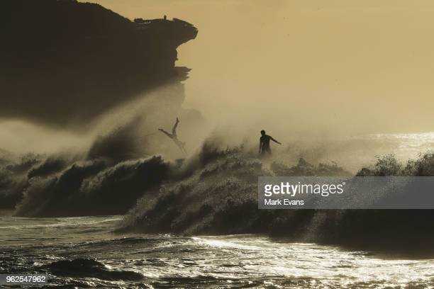Surfers take advantage of a large swell at Bronte Beach on May 26 2018 in Sydney Australia