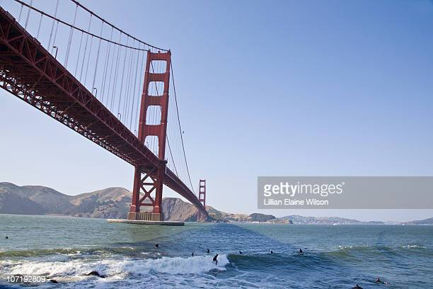 Surfers Under The Golden Gate Bridge