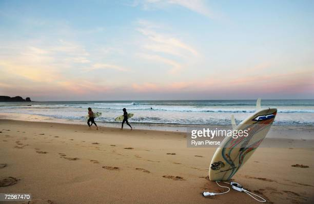Surfers warm up for their heats during the Rip Curl Pro which is round two of the ASP World Championship Tour at Woolamai Beach on March 31 2005 in...