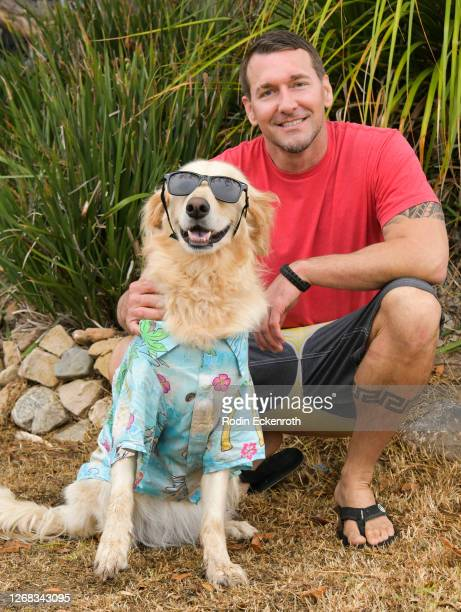 Surfin Jack and Celebrity Dog Trainer Brandon McMillan pose for portrait while taping a segment for Pawsitive Impact, Amazon Pets and Treasure...