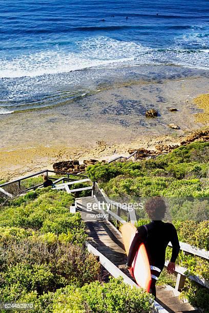Surfing at Bells Beach near Torquay, Victoria, Australia, South Pacific