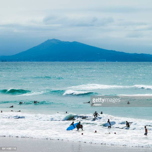 surfing at biarritz, france. - biarritz stock pictures, royalty-free photos & images