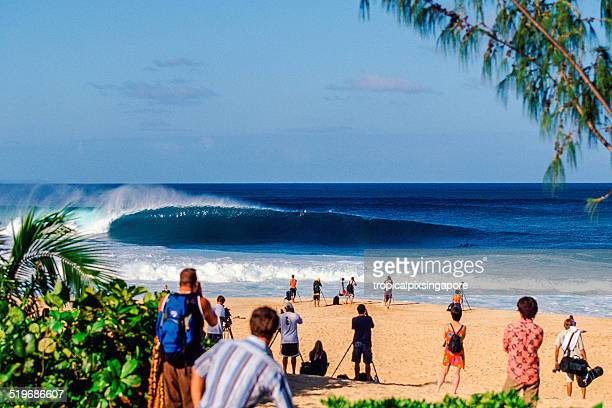 surfing at pipeline - waimea bay hawaii stock photos and pictures