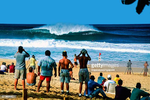 surfing at pipeline - waimea bay stock photos and pictures