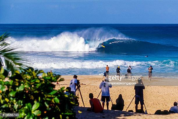 surfing at pipeline - haleiwa stock photos and pictures