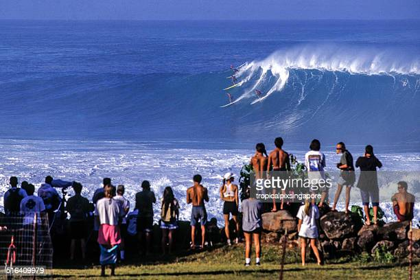 surfing at waimea bay - haleiwa stock photos and pictures